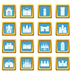 Towers and castles icons azure vector