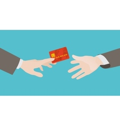 Transfer of the red credit card from hand to hand vector
