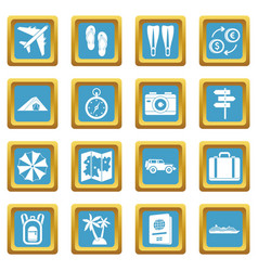 travel icons azure vector image