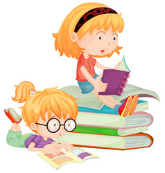 two children reading books in school vector image