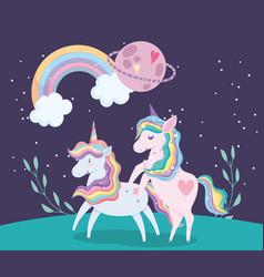 unicorns animal rainbow hair planet on grass vector image
