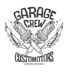 vintage motorcycle club garage spark plug print vector image