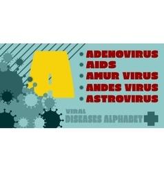 Viral diseases alphabet vector