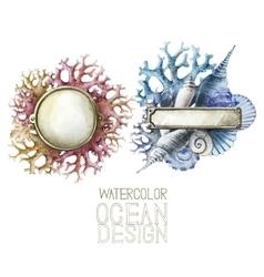 Watercolor metal plates with ocean design vector