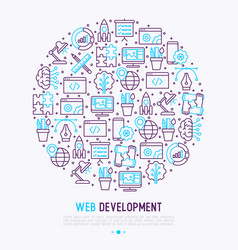 web development concept in circle vector image