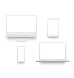 White desktop computer display screen smartphone vector