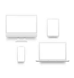 White desktop computer display screen smartphone vector