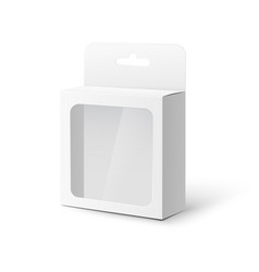 White tab box with plastic window realistic vector