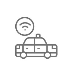 wi-fi car taxi wireless line icon vector image