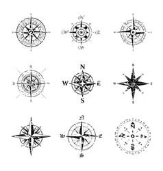 windroses grunge outline set vector image
