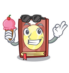 With ice cream recipe book isolated in the cartoon vector