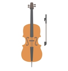 Wooden cello with bow vector