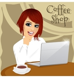 young hipster woman with laptop in coffee shop vector image