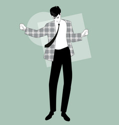 young man dancing new wave music wearing clothes vector image