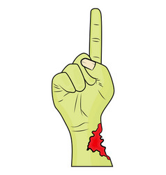 Zombie hand finger up gesture halloween vector