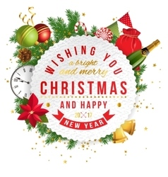 Merry Christmas emblem vector image vector image