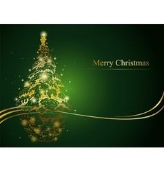 Modern golden Christmas tree vector image