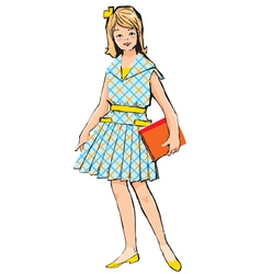 Retro School Girl vector image