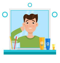 acne men shocked men in mirror reflection vector image