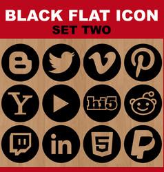 black flat icon set two image vector image