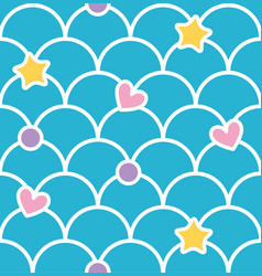 blue pastel cute scale seamless pattern with vector image vector image