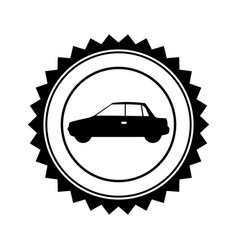 monochrome circular seal with automobile in side vector image