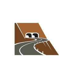 Mountainside winding road and tunnel vector image