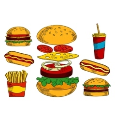 Cheeseburgers hot dogs fries and coffee sketches vector image vector image
