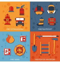 Firefighter Flat Set vector image vector image