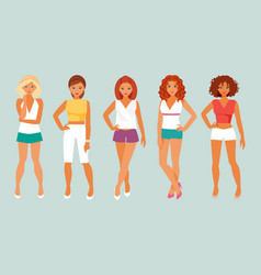 girls in summer clothes vector image vector image