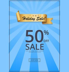 holiday sale 50 off present label rbbon on blue vector image vector image