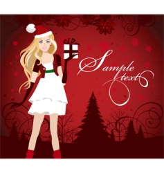 Santa dressed girl with present vector image