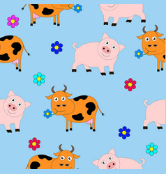 seamless texture consisting of pigs and cows vector image