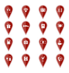set of red map pointers with sport icons vector image vector image