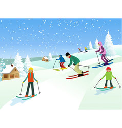 Skiers vector image vector image