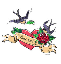 tattoo swallows fly over heart and rose true love vector image vector image