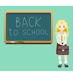 Back to school board cheerful girl satchel first vector image