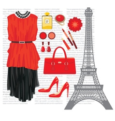 Fashion set with the Eiffel Tower vector image