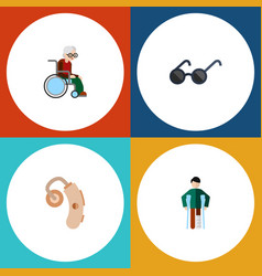 flat icon handicapped set of injured audiology vector image vector image