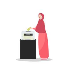 girl put money into donation box islam muslim vector image vector image