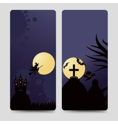 Halloween flyers template with castle vector