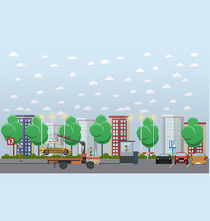 parking lot concept in flat vector image