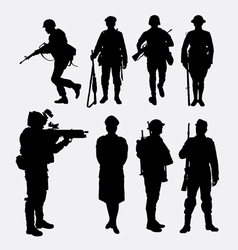 Soldier army and police silhouette 2 vector