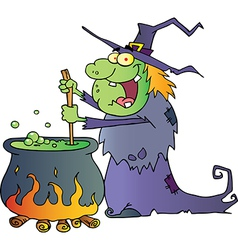 Ugly Halloween Witch Preparing A Potion vector image