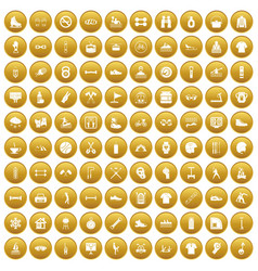 100 sport life icons set gold vector image