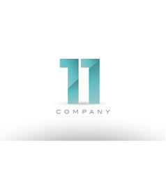 11 eleven number numeral digit green logo icon vector