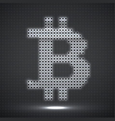 abstract neon sign bitcoin of dots vector image