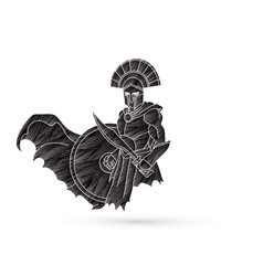 Angry spartan warrior with sword and shield vector