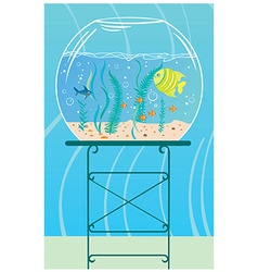 Aquarium with small fishes vector image