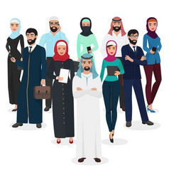 Arab muslim business people teamwork arabic vector
